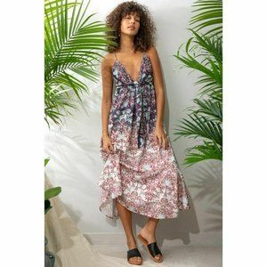 Free People Sun Bleached Tie Front Midi Dress New